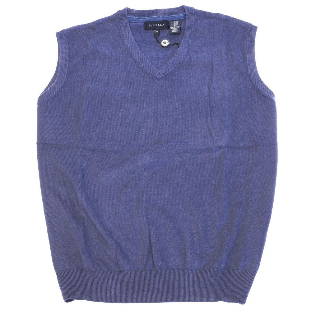 Cotton and Silk V-Neck Sleeveless Sweater Vest in Steel Blue by ...