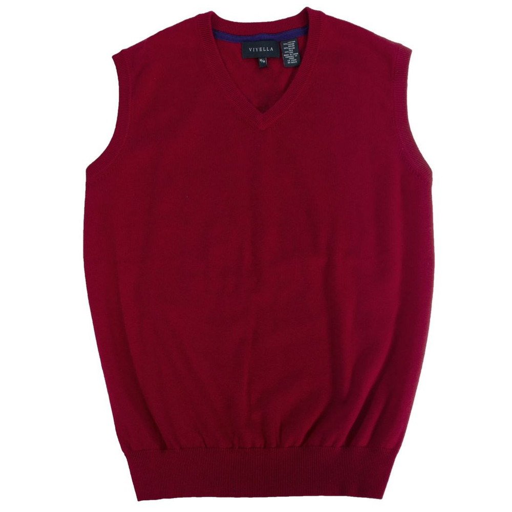Cotton and Silk V-Neck Sleeveless Sweater Vest in Red by Viyella ...