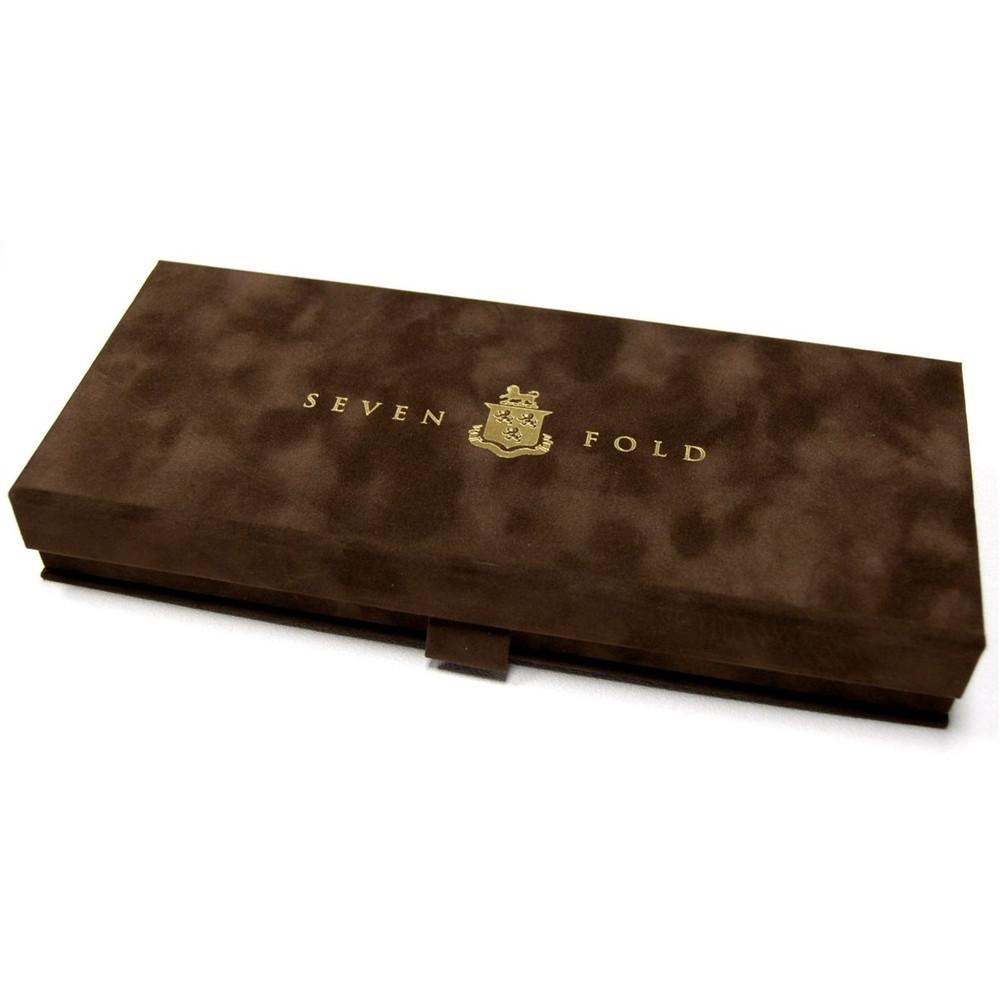 Custom Made Gold and Blue Medallion Seven Fold Silk Tie by Robert Talbott