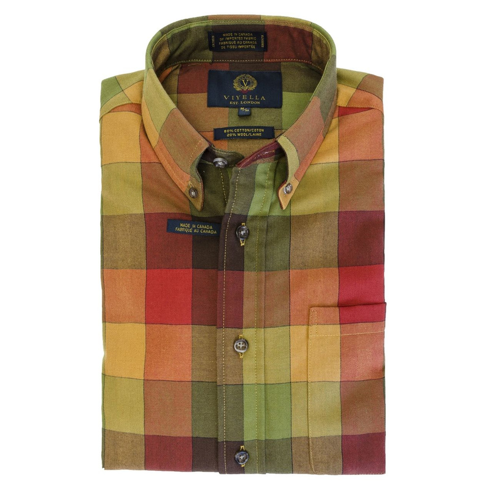 Red, Green, and Orange Plaid Button-Down Shirt by Viyella