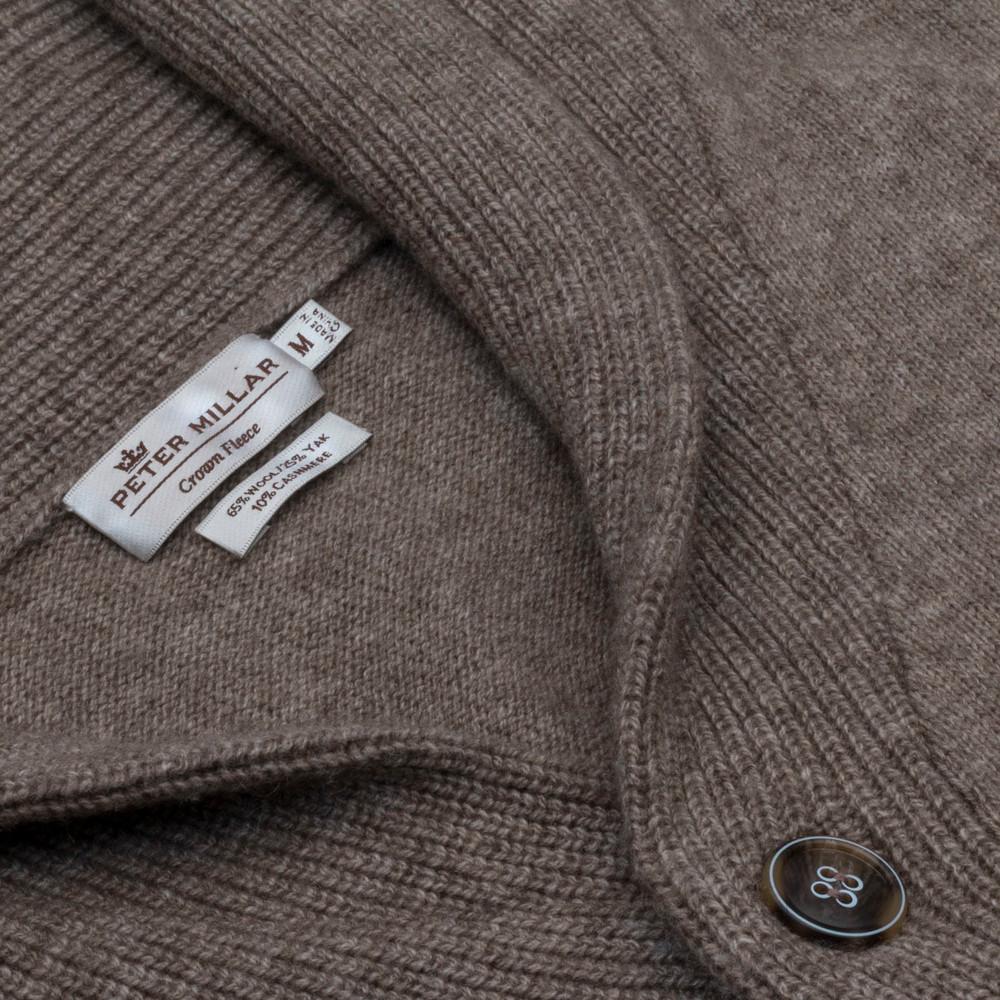 Crown Fleece Merino, Yak, and Cashmere Shawl Cardigan Sweater in Dark Astro (Size X-Large) by Peter Millar
