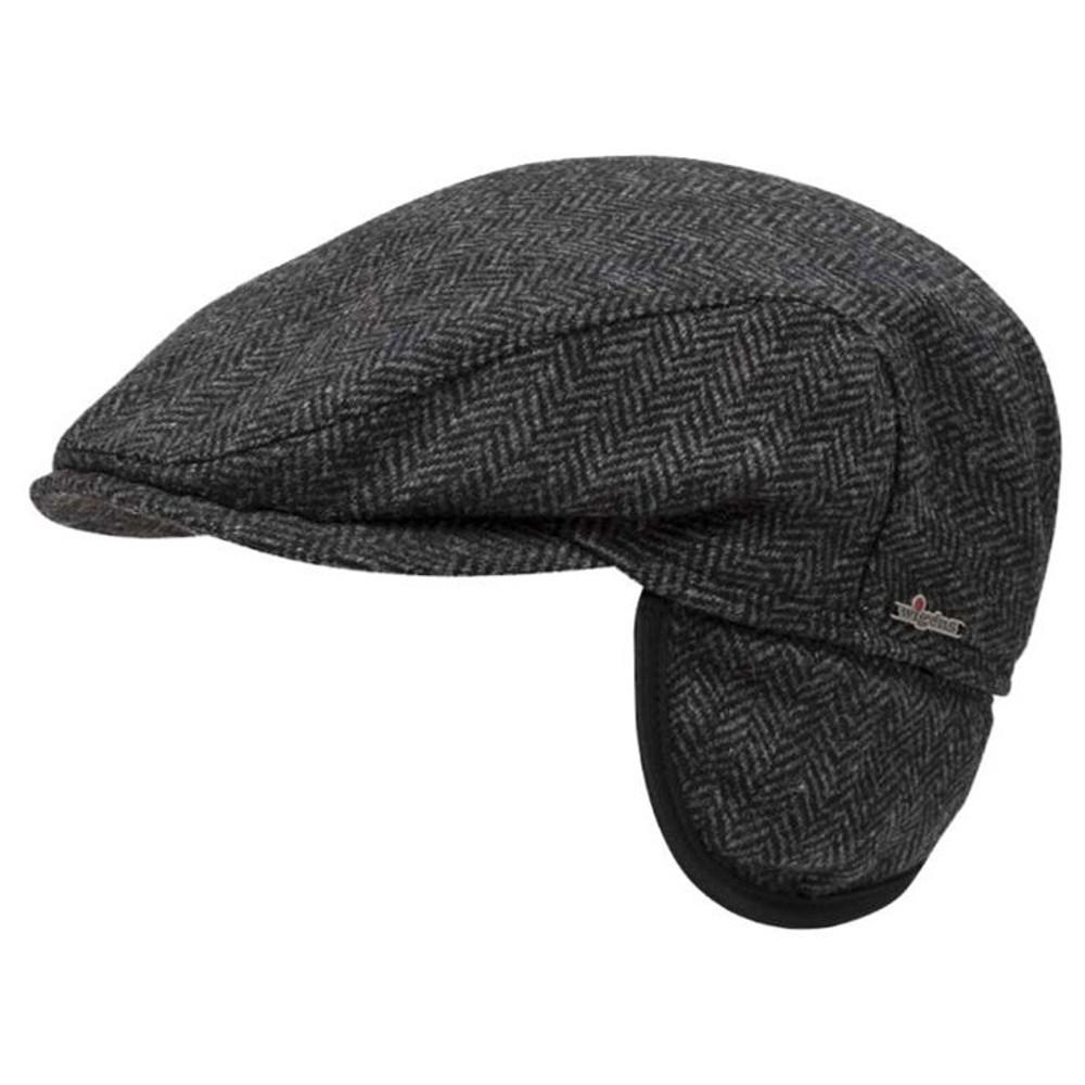 Ivy Slim Herringbone Cap with Earflaps in Dark Grey Melange by Wigens