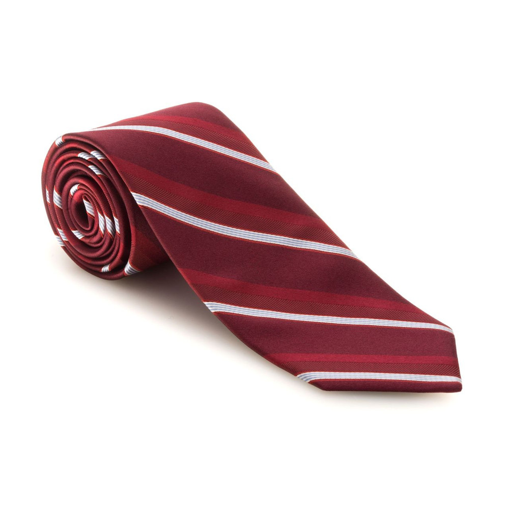 Fall 2017 Best of Class Red, White, and Sky Blue Stripe 'Executive' Woven Silk Tie by Robert Talbott