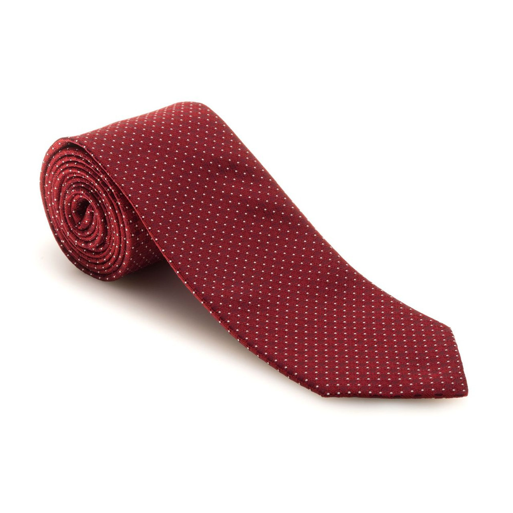 Fall 2017 Red and Ivory Dot 'Robert Talbott Protocol' Hand Sewn Woven Silk Tie by Robert Talbott