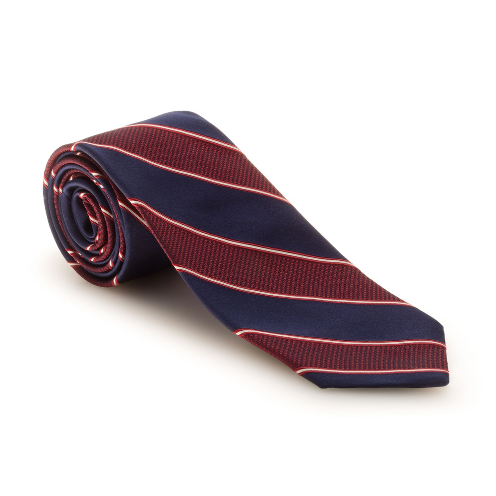Fall 2017 Best of Class Navy and Red Stripe 'Heritage' Woven Silk Tie by Robert Talbott