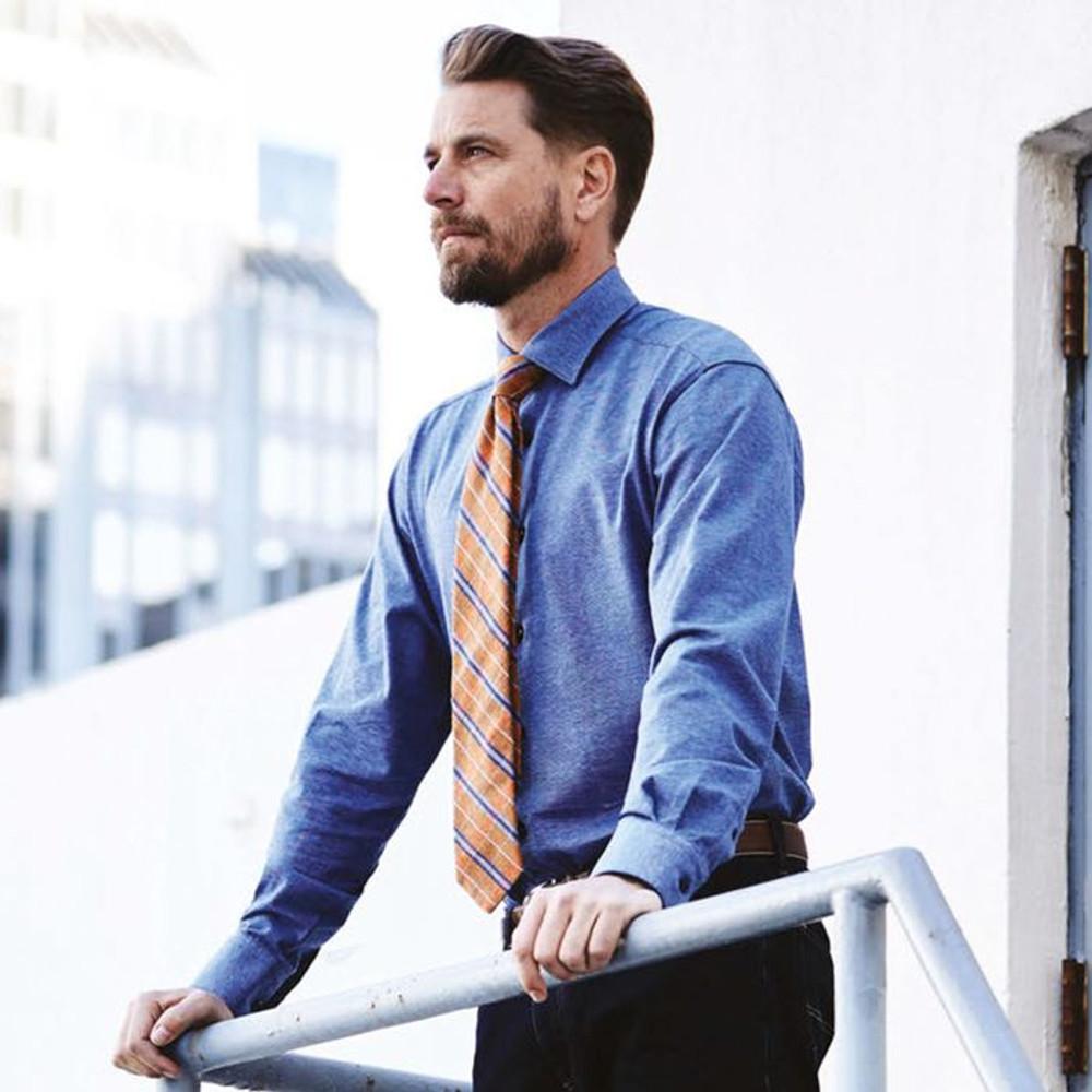 Fall 2017 Best of Class Orange Plaid 'Seasonal' Woven Silk and Linen Tie by Robert Talbott