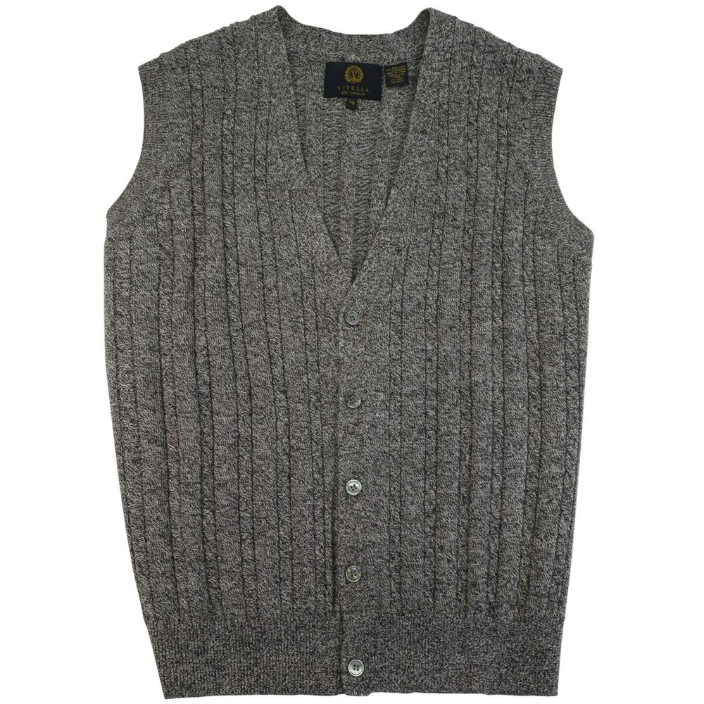 Merino Wool Cable Knit V-Neck Sweater Vest in Mouline Heather by ...