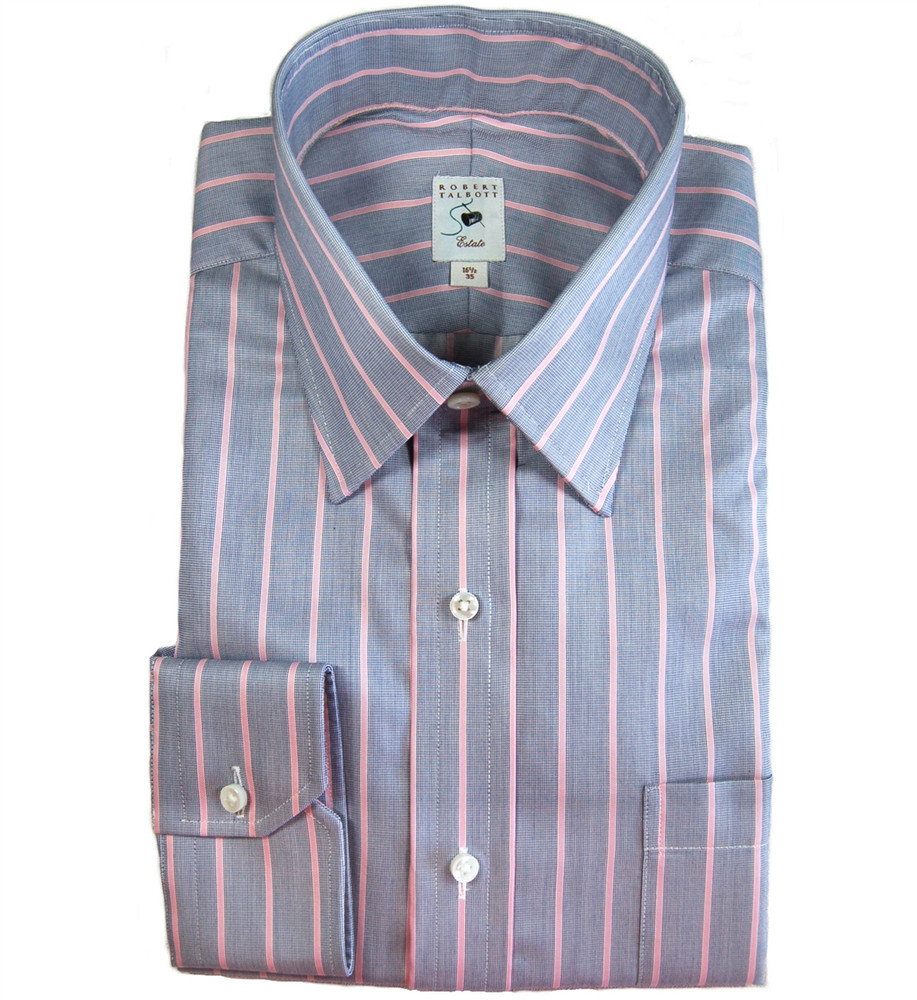Navy and pink stripe estate dress shirt size 16 34 by for Robert talbott shirts sale