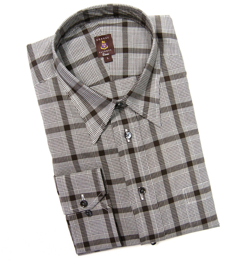 Brown plaid estate sport shirt by robert talbott hansen for Robert talbott shirts sale