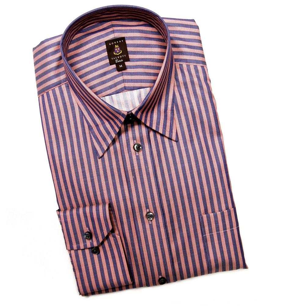 Navy and red stripe estate sport shirt by robert talbott for Robert talbott shirts sale