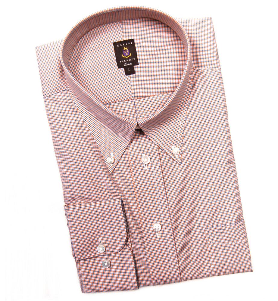 Orange and blue check estate sport shirt by robert talbott for Robert talbott shirts sale