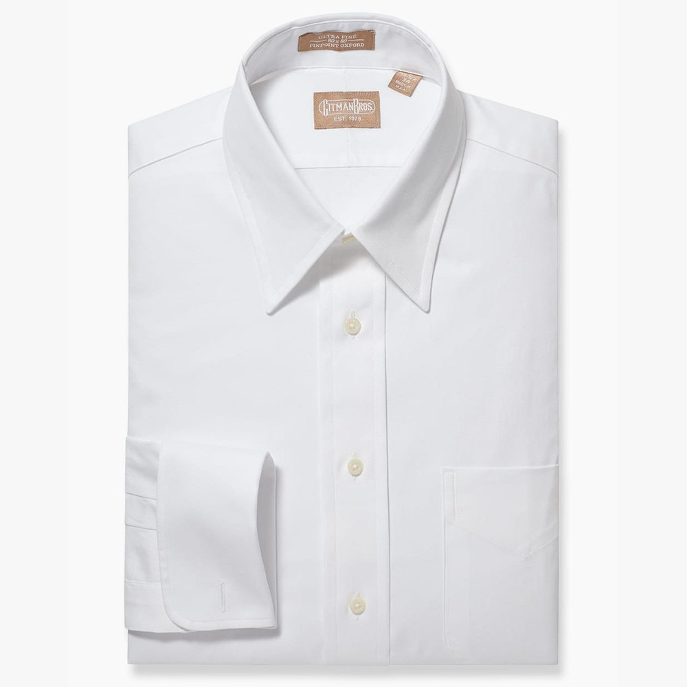 Pinpoint Dress Shirt With Point Collar And French Cuff In