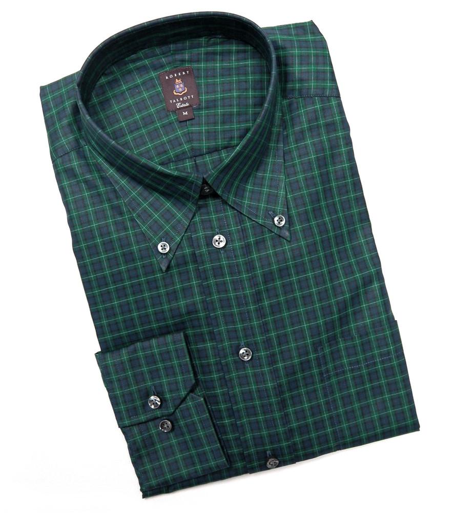 Navy and green tartan estate sport shirt by robert talbott for Robert talbott shirts sale