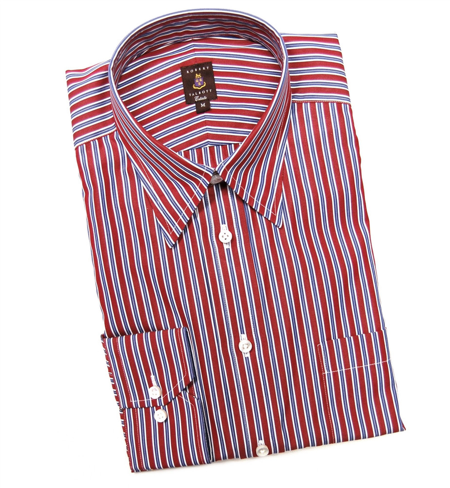 Red and navy stripe estate sport shirt size medium by for Robert talbott shirts sale
