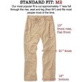 Vintage Twill Pant - Model M2 Standard Fit Plain Front in Khaki by Bills Khakis