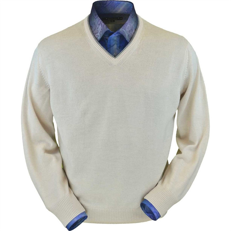 Royal Alpaca V-Neck Sweater in Natural by Peru Unlimited