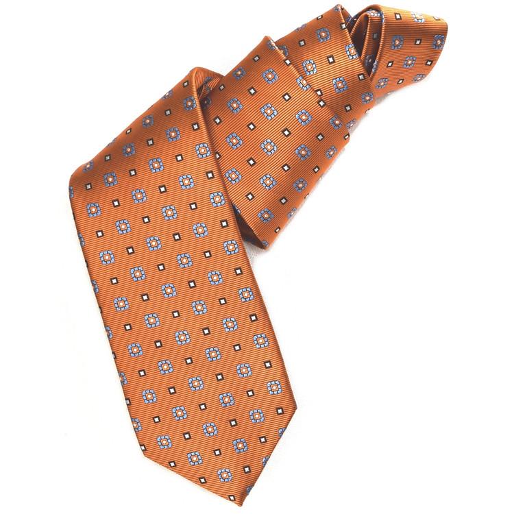 Orange, Blue, and Black Neat Woven Silk Tie by Robert Jensen