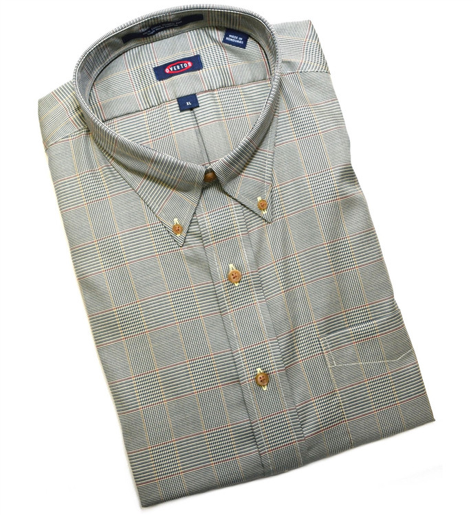 Saddle and Blue Houndstooth Check Button-Down Wrinkle Free Sport Shirt by Overton