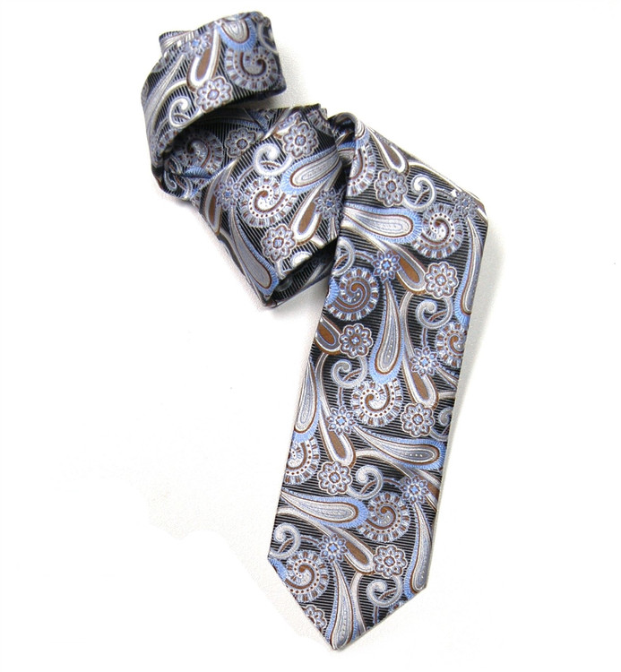 Brown, Blue, and White Paisley Woven Silk Tie by Robert Jensen
