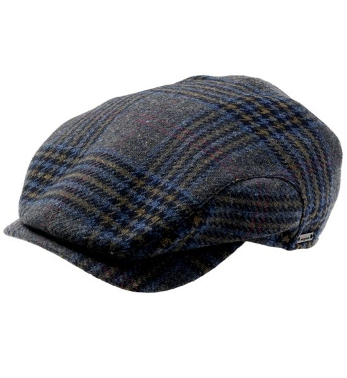 'Robert' Plaid Earflap Cap in Navy (Size 58) by Wigens