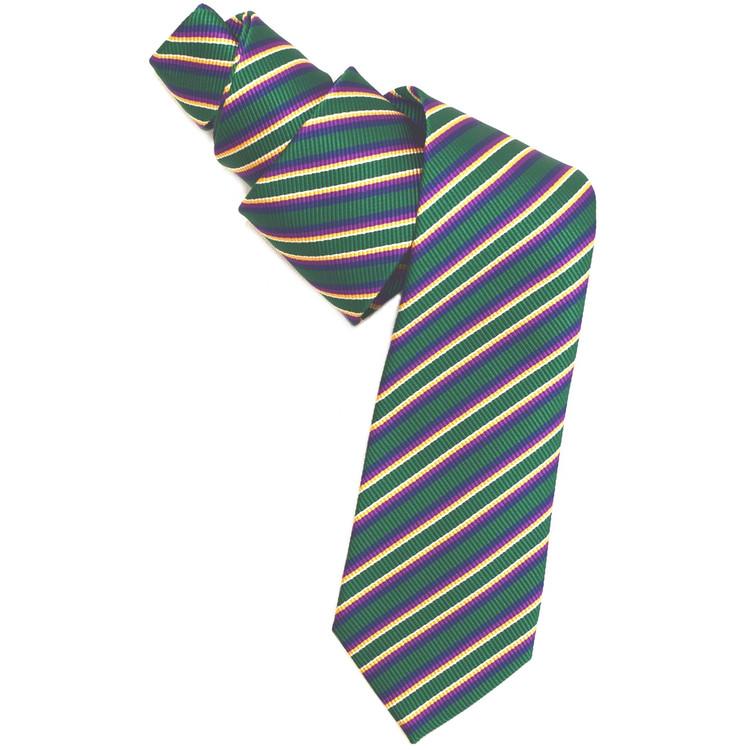 Green, Gold, and Purple Mogador Stripe Woven Silk Tie by Robert Jensen