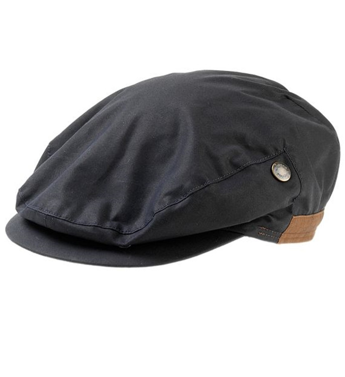 'Walker' Waxed Cotton Ivy Cap with Earflaps in Navy (Size 62) by Wigens
