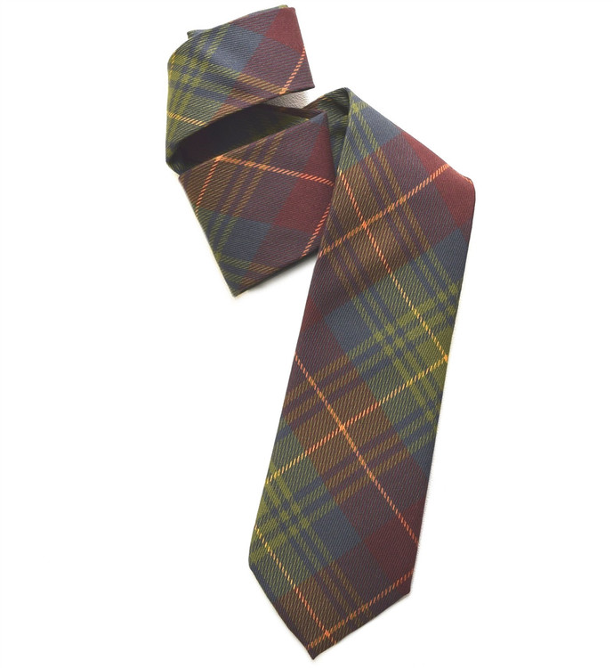Green, Maroon, Blue, and Gold Plaid Overprinted Woven Silk Tie by Robert Jensen