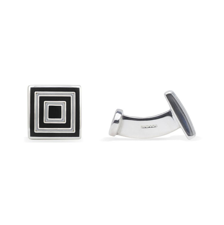 'Concentric Square' Sterling Silver Cufflinks in Black and Tan by Robert Talbott