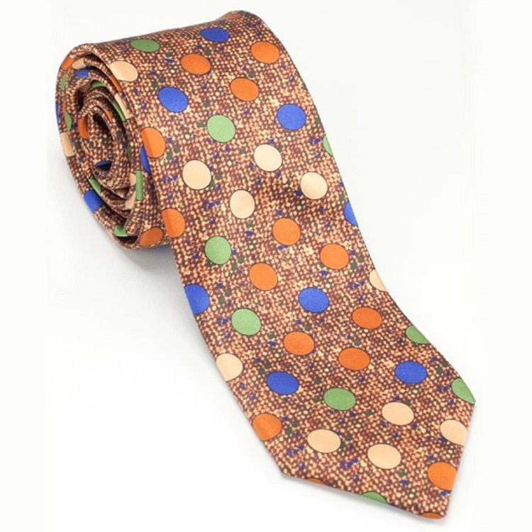 'Saxony Print' Silk Estate Tie in Orange by Robert Talbott