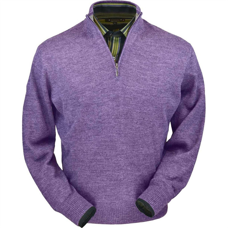 Royal Alpaca Half-Zip Sweater in Lilac Heather by Peru Unlimited