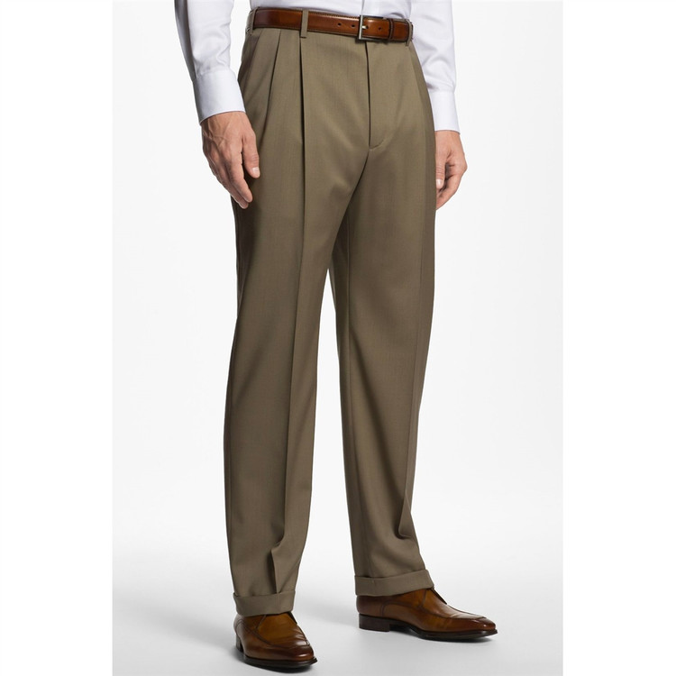'Bennett' Double Reverse Pleat Super 120's Wool Serge Pant in Taupe by Zanella