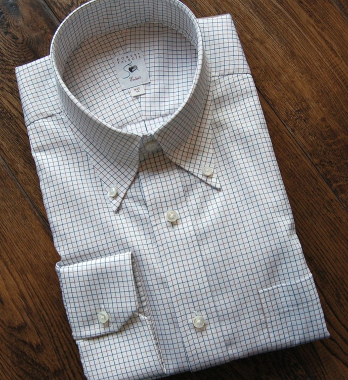 Blue and Brown Check on White Estate Dress Shirt (Size 15 1/2 - 35) by Robert Talbott