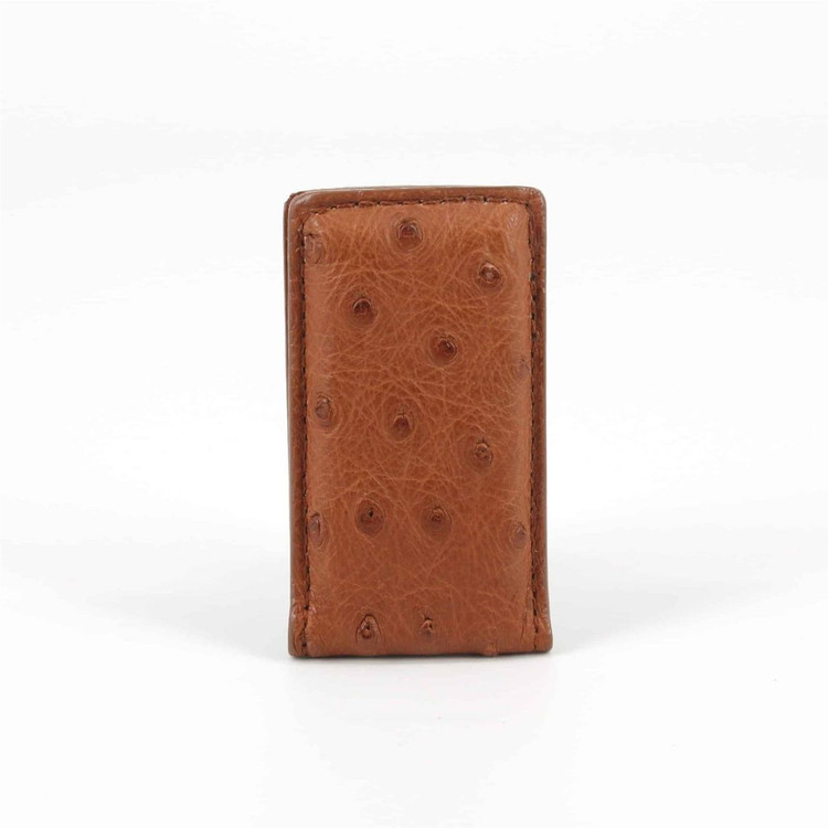 Genuine Ostrich Magnetic Money Clip in Saddle by Torino Leather Co.