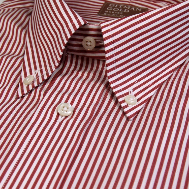 'Gitman Gold' Red and White Stripe Twill Dress Shirt (Size 16 - 34) by Gitman Brothers
