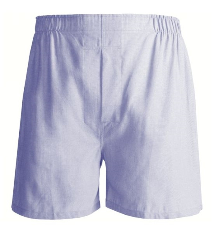 Solid Oxford Cloth Cotton Boxer in Blue by Tiger Mountain