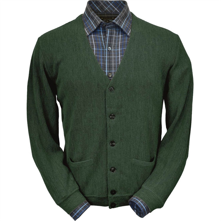 Baby Alpaca Link Stitch Cardigan Sweater in Green Heather by Peru Unlimited