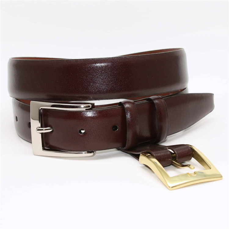 Italian Calfskin Double Buckle Option Belt in Brown by Torino Leather Co.