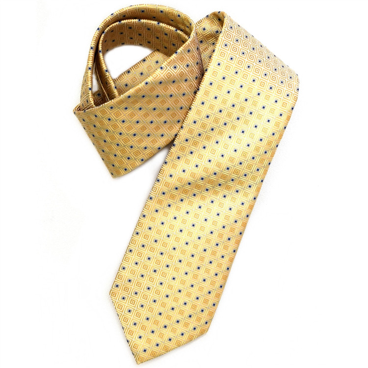 Butter Yellow and Blue Geometric Squares Woven Silk Tie by Robert Jensen