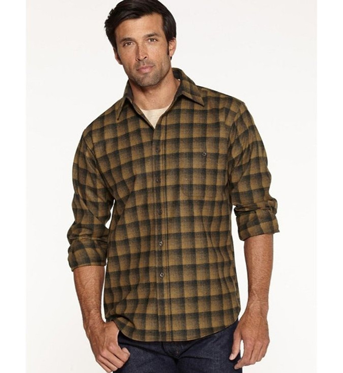 Bronze and Charcoal Ombre Elbow-Patch Trail Shirt (Size Medium) by Pendleton