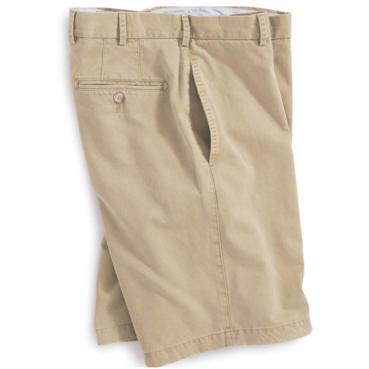 'Winston' Washed Twill Flat Front Short in Khaki by Peter Millar