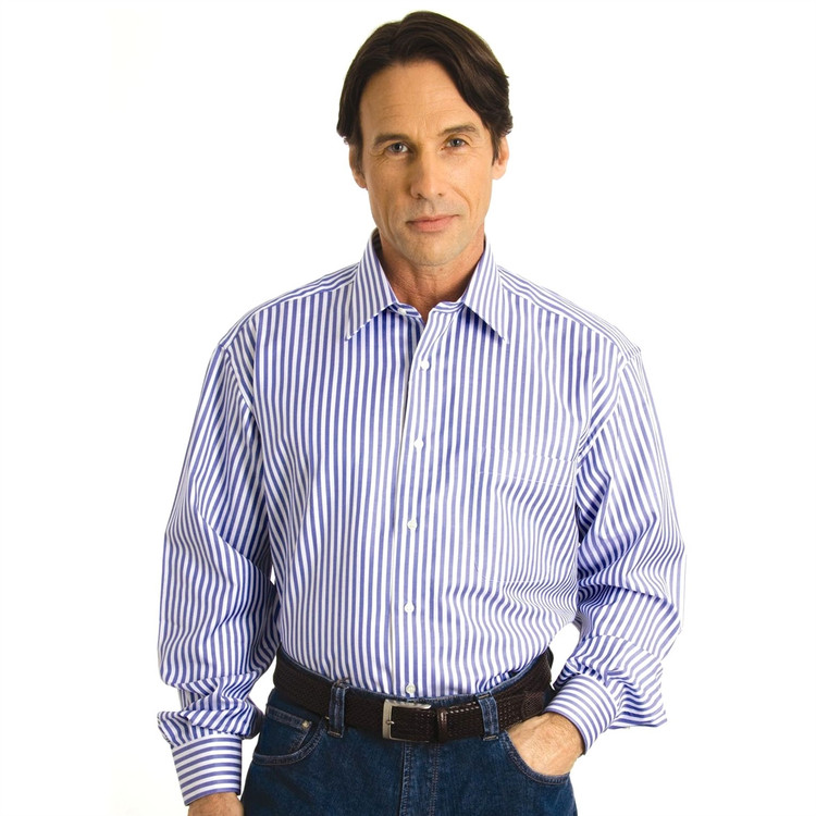 Blue and White Stripe Sport Shirt by St. Croix