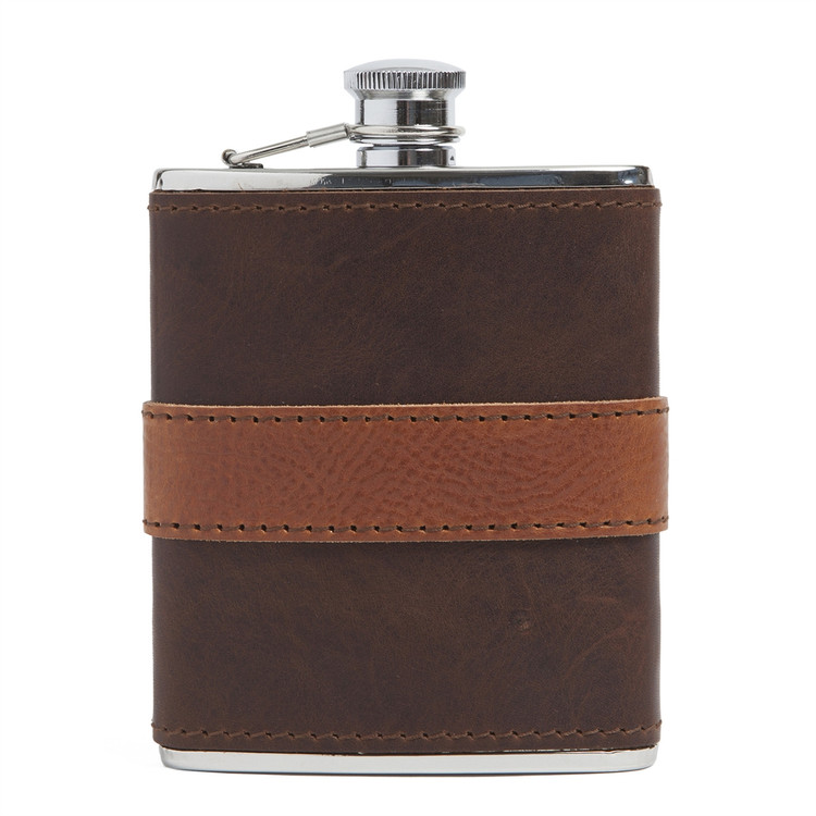 Leather-Wrapped Stainless Steel Flask in Brown with Cognac Trim by Moore & Giles