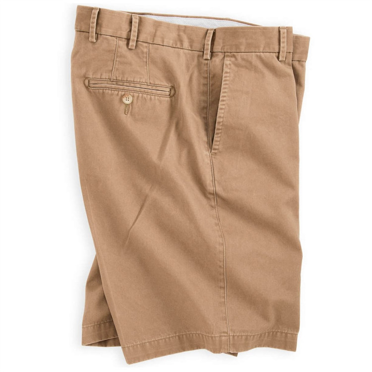 'Winston' Washed Twill Flat Front Short in British Tan by Peter Millar