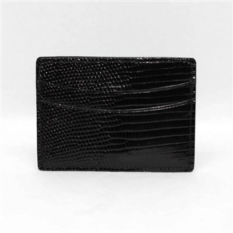 Genuine Lizard Card Case in Black  by Torino Leather Co.