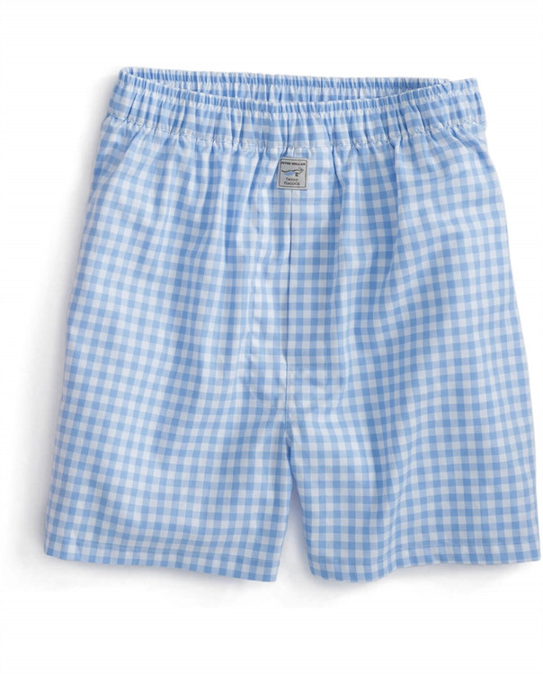 Twill Check Cotton Boxer in Tarheel Blue by Peter Millar
