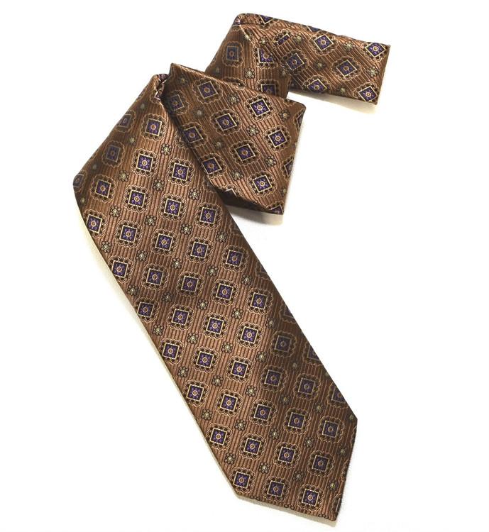 Brown and Purple Medallion Woven Silk Tie by Robert Jensen