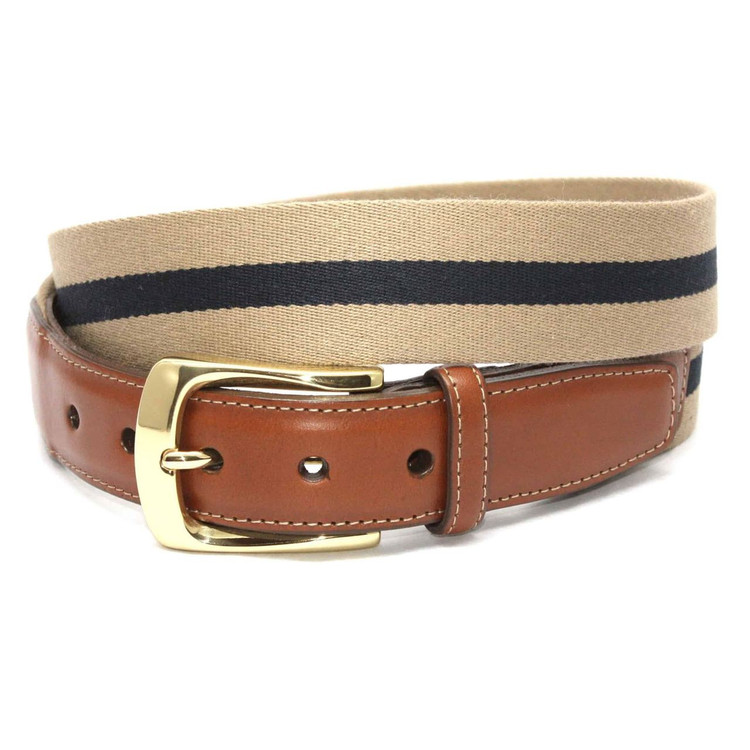 European Ribbed Striped Surcingle Belt in Camel/Navy by Torino Leather Co.