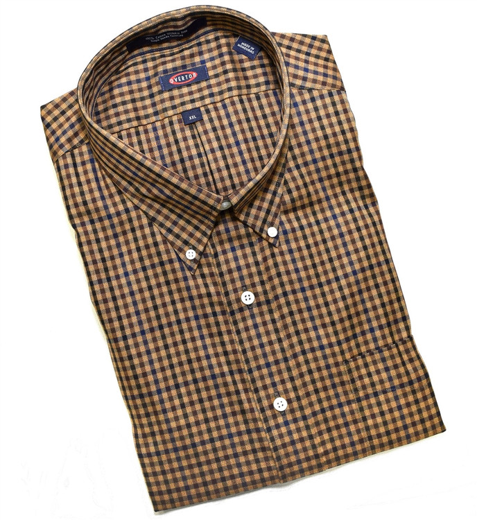 Khaki, Navy, and Black Check Button-Down Wrinkle Free Sport Shirt by Overton