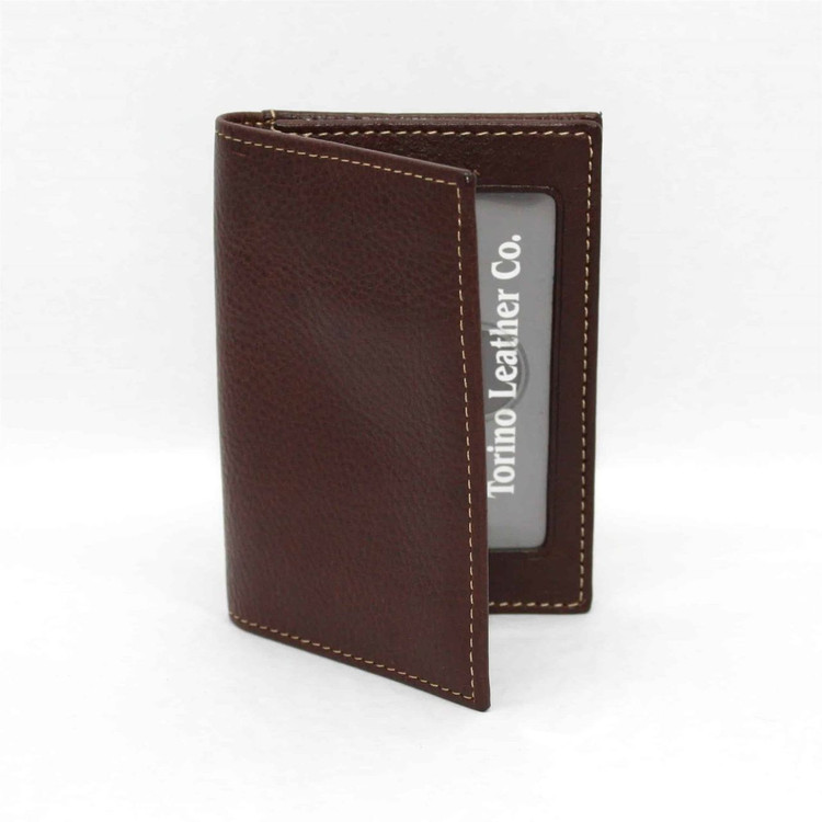 Tumbled Glove Leather Gusseted Card Case in Brown by Torino Leather Co.