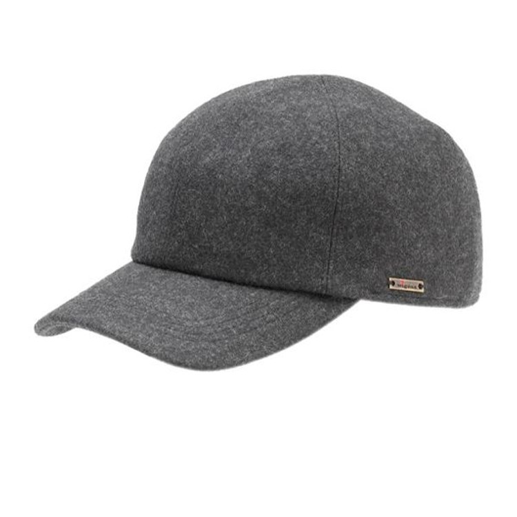 'Kent' Melton Wool Baseball Cap with Earflaps in Charcoal (Size 56) by Wigens